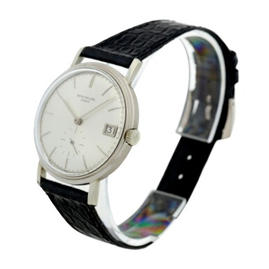 View 2. Thumbnail of Lot 145. REFERENCE 3541 A WHITE GOLD WRISTWATCH WITH DATE, MADE IN 1967.
