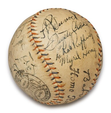 View 3. Thumbnail of Lot 146. New York Yankees | 1931 New York Yankees Autographed Baseball, signed by 10 Hall of Famers, from the Copeland Collection.