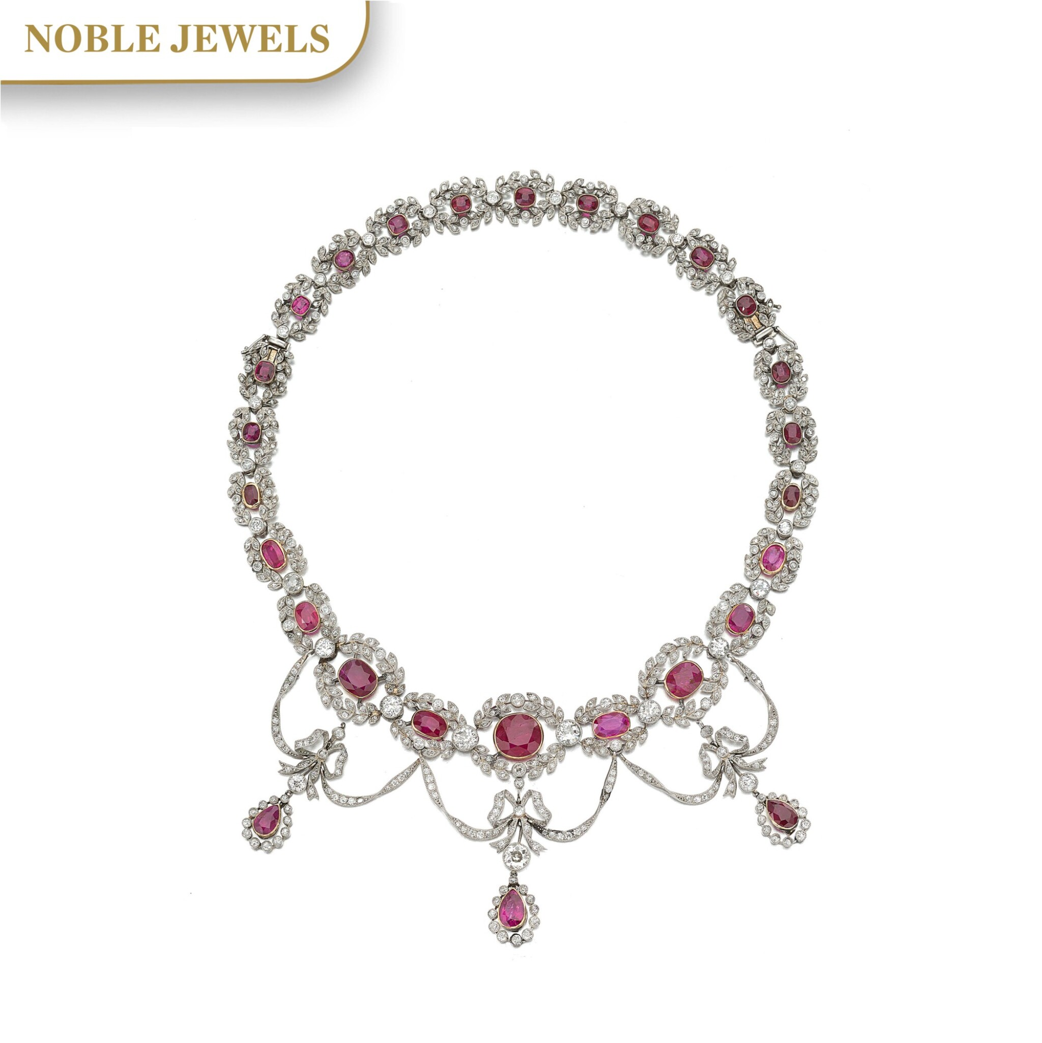 View full screen - View 1 of Lot 159. RUBY AND DIAMOND NECKLACE, CIRCA 1910.