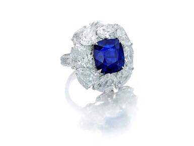 View 2. Thumbnail of Lot 1731. Sapphire and Diamond Ring   9.56克拉 天然「緬甸皇家藍」藍寶石 配 鑽石 戒指(鑽石共重約13.44克拉).