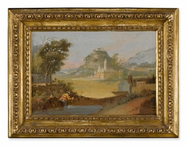 View 7. Thumbnail of Lot 103. View of a port, with fishermen coming to shore; A fisherman along a riverbank, a hillside town beyond.