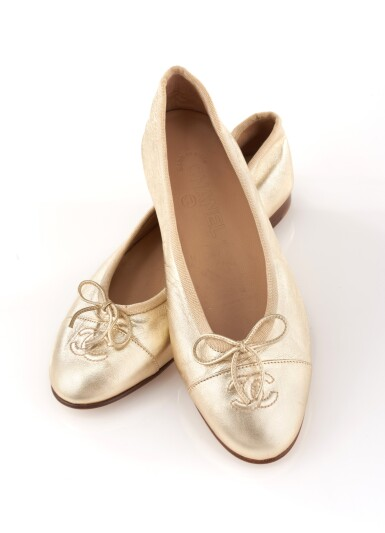 View 1. Thumbnail of Lot 58. Pair of gold leather flats.