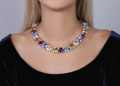 View 4. Thumbnail of Lot 8. Gem set and diamond necklace, 'Cuori', Michele della Valle.