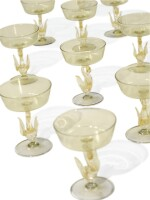 A SET OF TEN VENICE YELLOW-TINTED CHAMPAGNE OR SWEETMEAT GLASSES, LATE 19TH/ 20TH CENTURY
