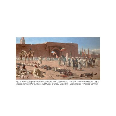 View 2. Thumbnail of Lot 28. JEAN-JOSEPH BENJAMIN-CONSTANT | THE KING OF MOROCCO LEAVING TO RECEIVE A EUROPEAN AMBASSADOR.