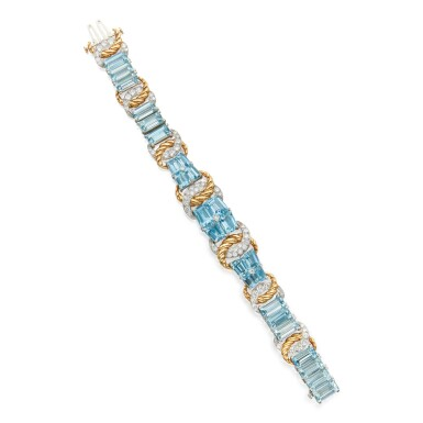 AQUAMARINE AND DIAMOND BRACELET, VERDURA