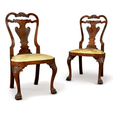 View 1. Thumbnail of Lot 506. A PAIR OF GEORGE II WALNUT SIDE CHAIRS, CIRCA 1740.