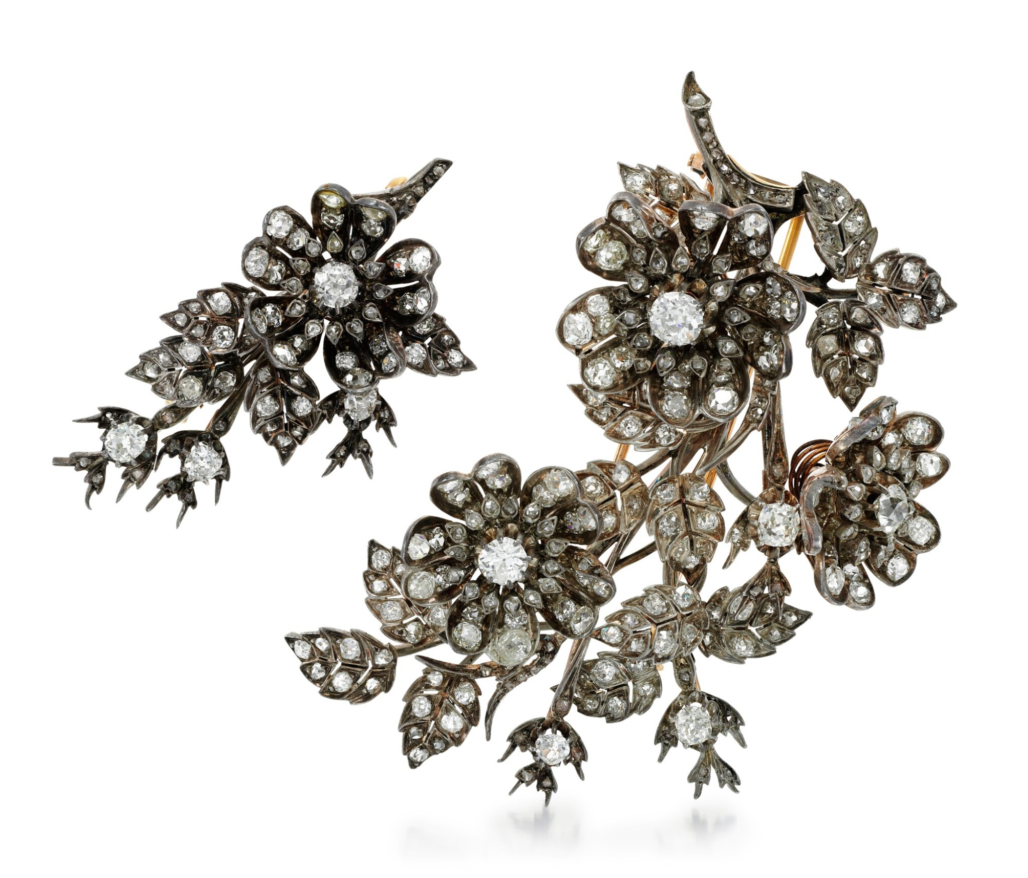 View full screen - View 1 of Lot 212. TWO DIAMOND BROOCHES.