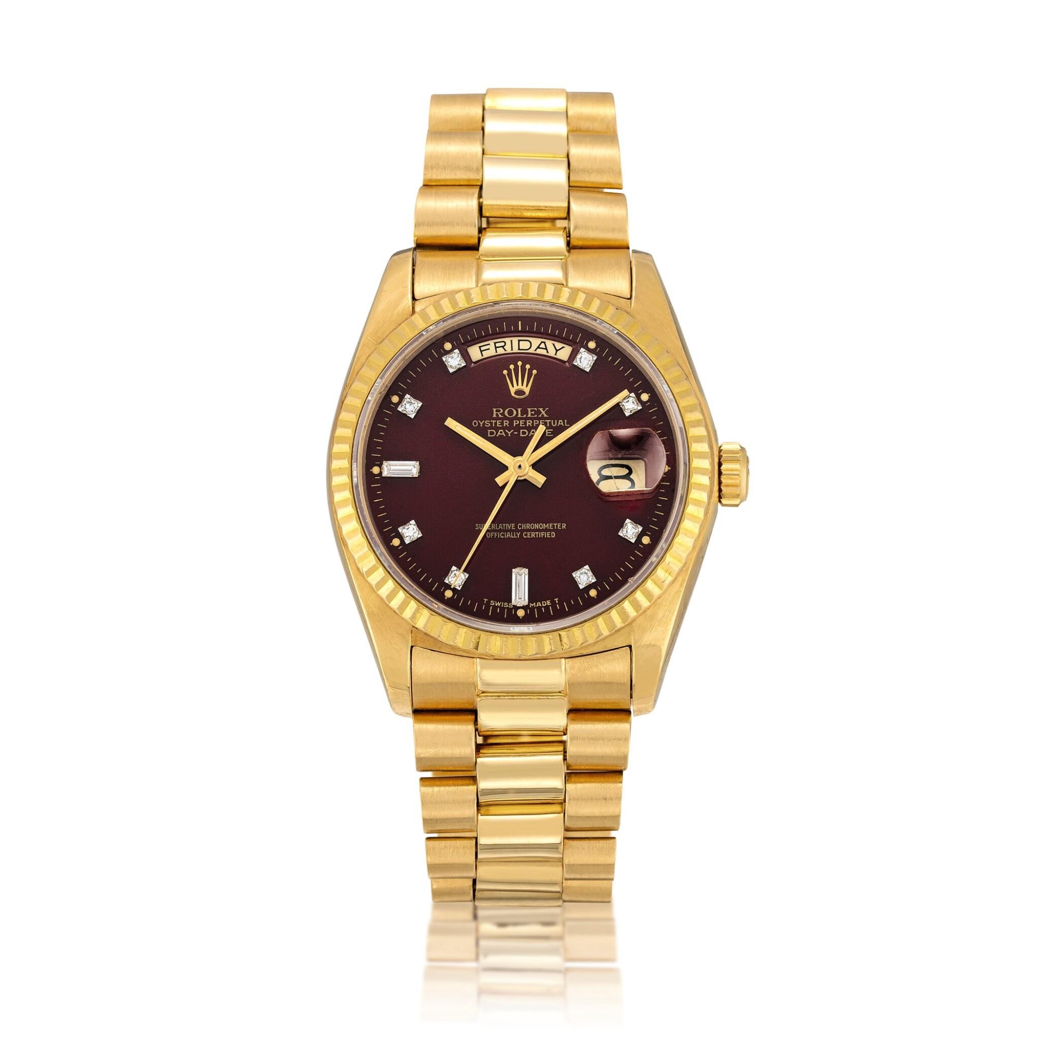 "View full screen - View 1 of Lot 2139. Rolex | Day-Date ""Stella"", Reference 1803, A yellow gold and diamond-set wristwatch with day, date, oxblood ""Stella"" dial and bracelet, Circa 1978 | 勞力士 | Day-Date ""Stella"" 型號18038  黃金鑲鑽石鏈帶腕錶,備日期、星期顯示及紅色 ""Stella"" 錶盤,約1978年製."