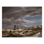 JOHN CONSTABLE, R.A.   A WINTER LANDSCAPE WITH WITH FIGURES ON A PATH, A FOOTBRIDGE AND WINDMILLS BEYOND (AFTER JACOB VAN RUISDAEL)