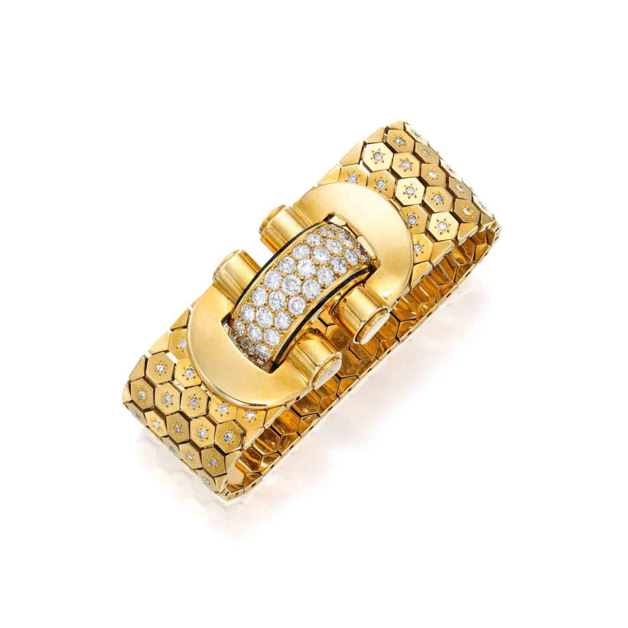View full screen - View 1 of Lot 223. Gold, Diamond and Enamel 'Ludo Hexagone' Bracelet, France.