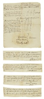 (AMERICAN REVOLUTION) | Five manuscript documents signed by some of the first African-Americans to fight for the American cause, dated less than a month after Lexington and Concord, Natick, Massachusetts, 15 May 1775