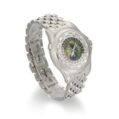 View 3. Thumbnail of Lot 361. PATEK PHILIPPE   WORLD TIME, REF 5131/1P, PLATINUM WORLD TIME WRISTWATCH WITH CLOISONNE ENAMEL DIAL AND BRACELET, CIRCA 2018.