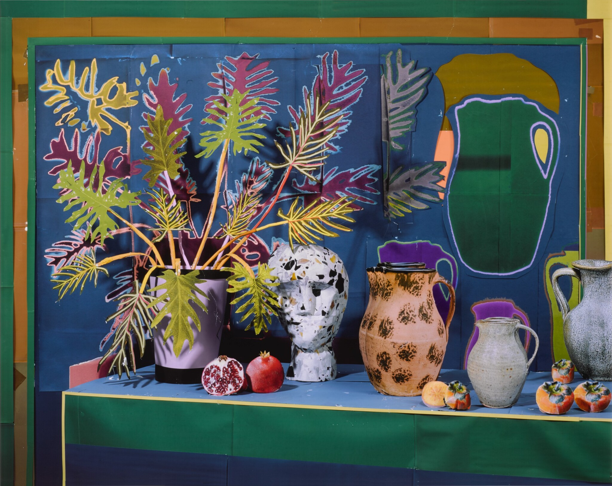View full screen - View 1 of Lot 52. DANIEL GORDON | 'PHILODENDRON AND BUST WITH VESSELS AND FRUITS'.