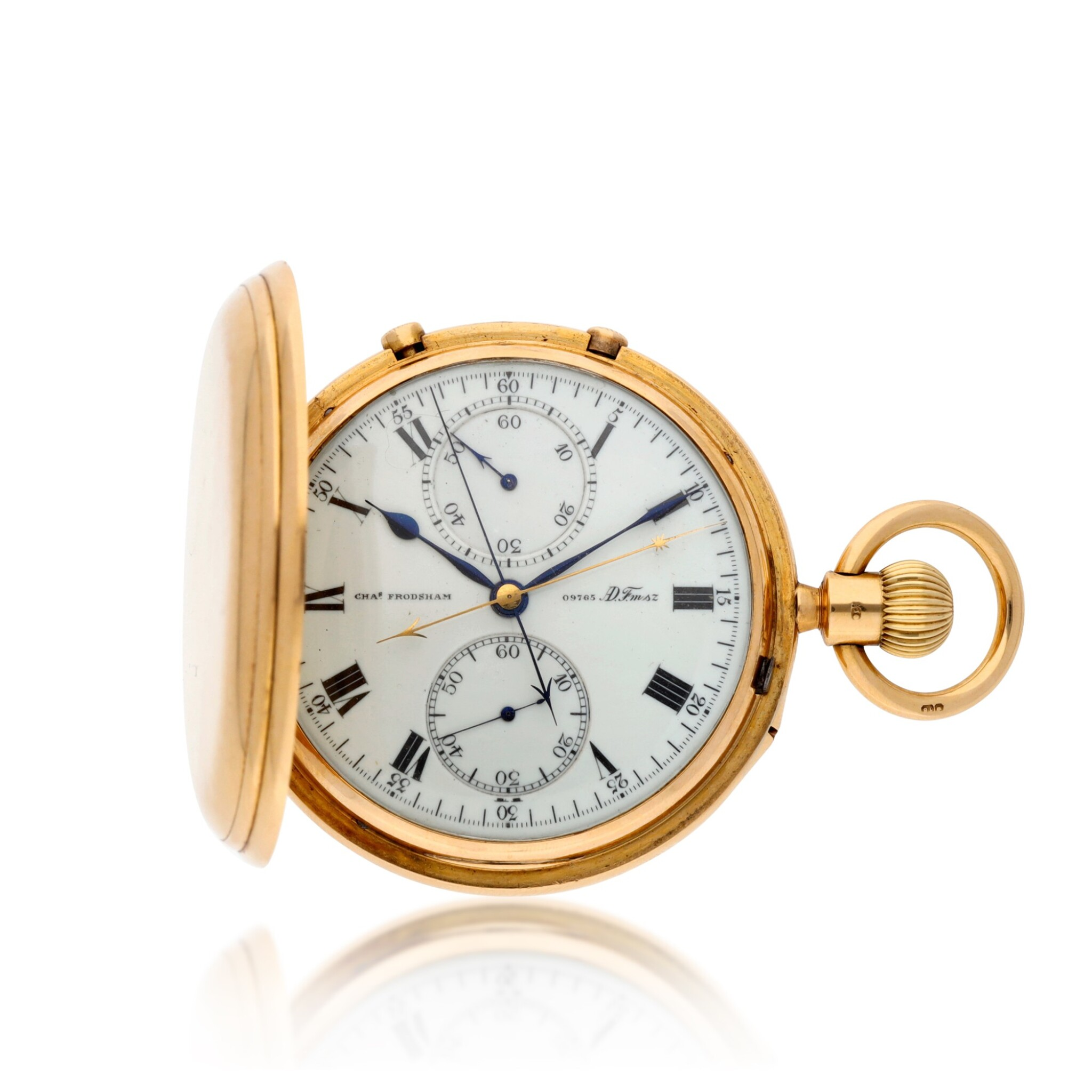 View full screen - View 1 of Lot 214. A gold hunting cased keyless lever 7½-minute flying tourbillon watch with split seconds chronograph and 60-minute register Movement circa 1917, no. 09765 case hallmarked 1904, no. 09765.
