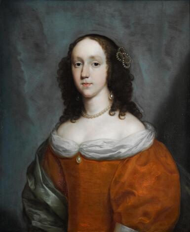View 1. Thumbnail of Lot 8. CORNELIUS JOHNSON | A portrait of a lady, half-length, wearing an orange silk dress and a green silk shawl.
