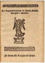 Castellani, La rappresentatione di Santa Orsola, Siena, [1571], modern vellum with Essling arms