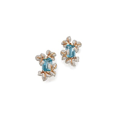 View 1. Thumbnail of Lot 99. PAIR OF AQUAMARINE AND DIAMOND EARCLIPS, TIFFANY & CO..