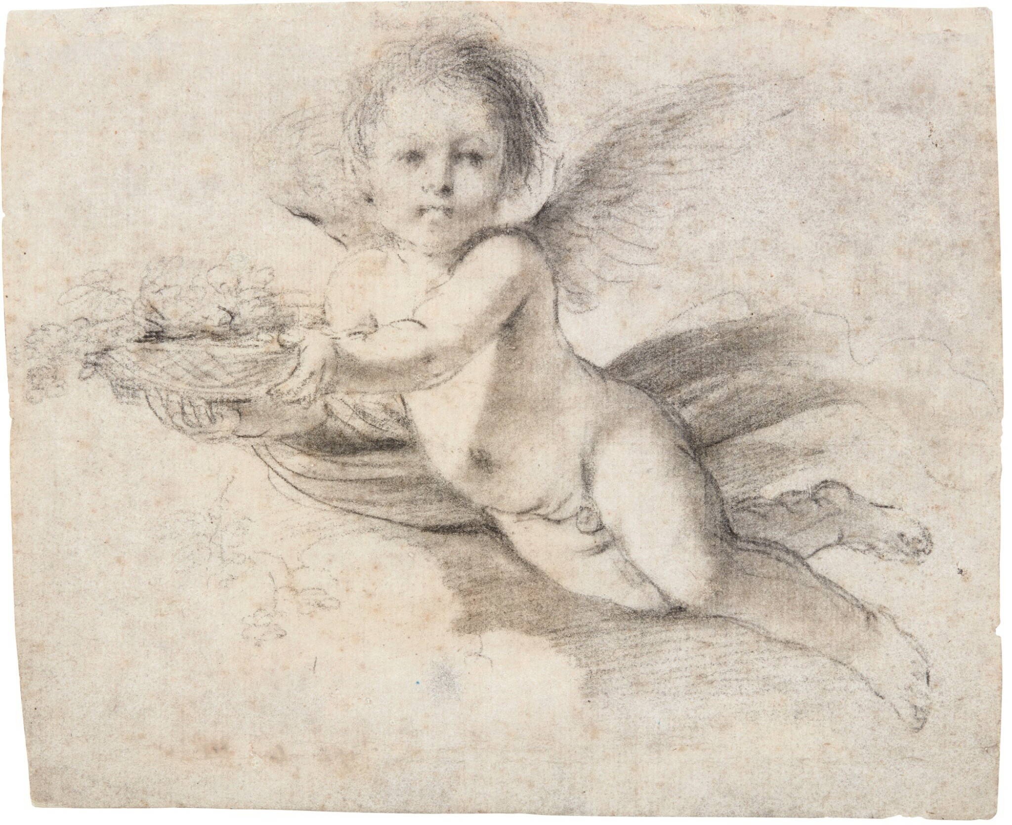 View full screen - View 1 of Lot 41. GIOVANNI FRANCESCO BARBIERI, CALLED GUERCINO | A FLYING PUTTO HOLDING A BASKET WITH FLOWERS.