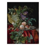 Still life with grapes in a basket, peaches on a silver dish, medlars, two butterflies, a fly and a snail, all on a red velvet cloth over a partially draped ledge