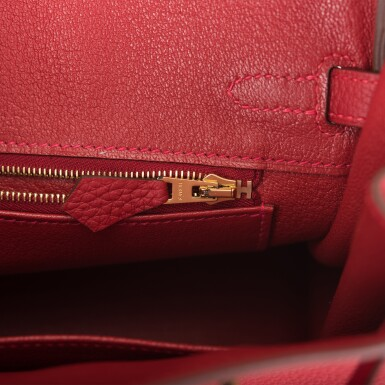 View 9. Thumbnail of Lot 21. HERMÈS   ROUGE VIF BIRKIN 25CM OF TOGO LEATHER WITH GOLD HARDWARE.
