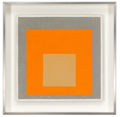 View 2. Thumbnail of Lot 9. STUDY TO HOMAGE TO THE SQUARE: REDDISH IN ORANGE WITH GRAY.