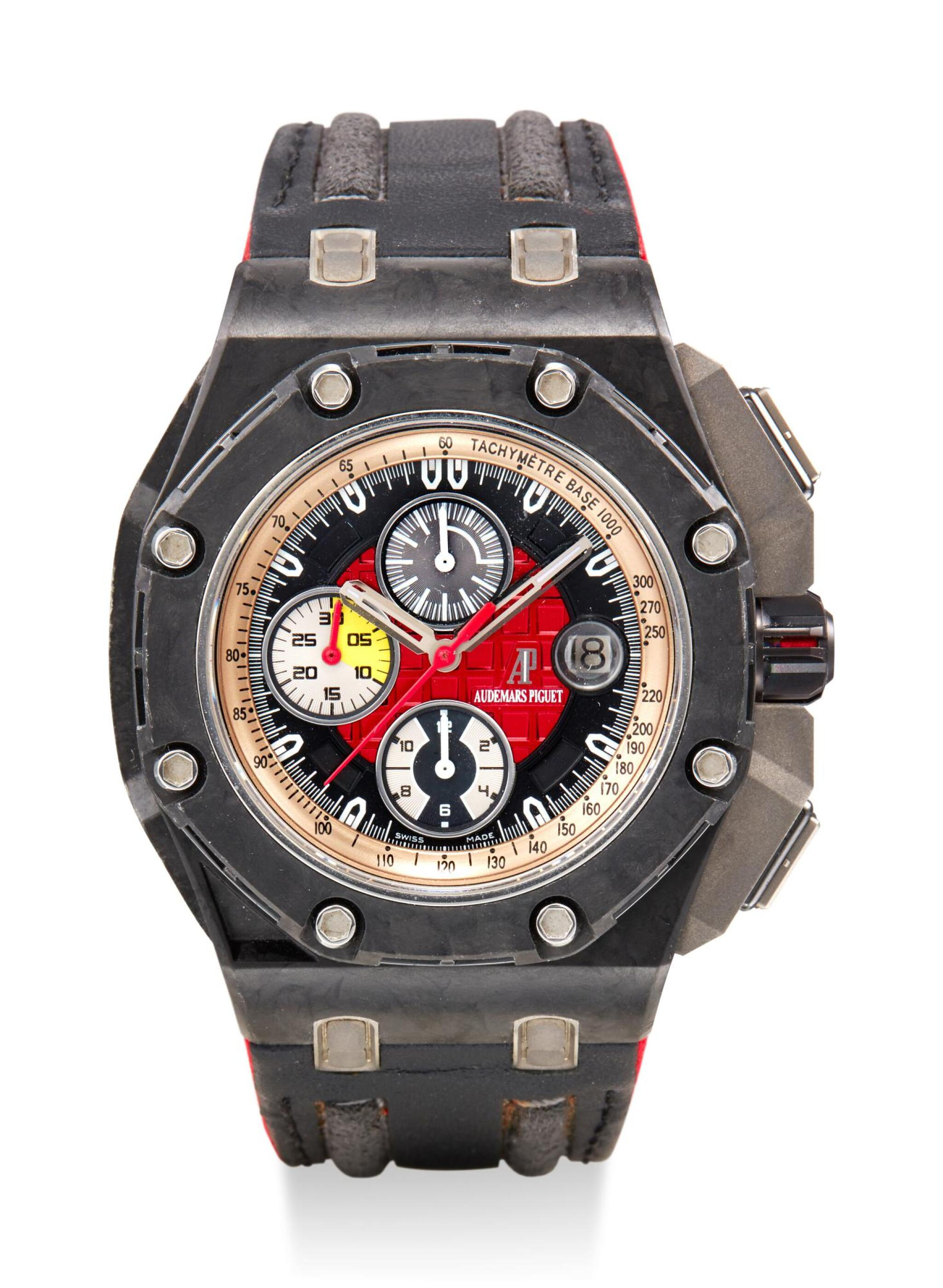 View full screen - View 1 of Lot 8129. AUDEMARS PIGUET   ROYAL OAK OFFSHORE GRAND PRIX, REFERENCE 26290IO.OO.A001VE.01,  A LIMITED EDITION CERAMIC, FORGED CARBON AND TITANIUM CHRONOGRAPH WRISTWATCH WITH DATE, CIRCA 2010.
