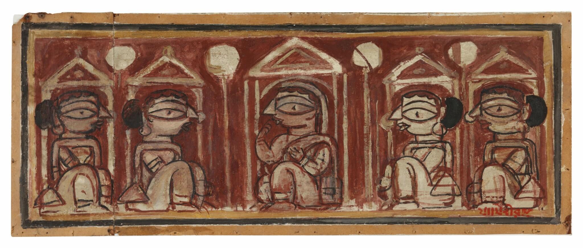 View full screen - View 1 of Lot 1805. JAMINI ROY | UNTITLED (FIVE WOMEN).