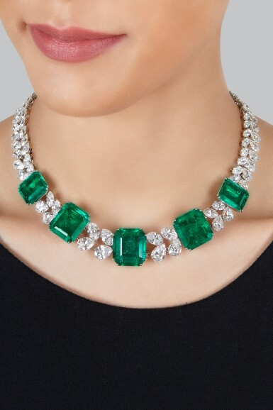 View 3. Thumbnail of Lot 97. Harry Winston   An Impressive Emerald and Diamond Necklace.