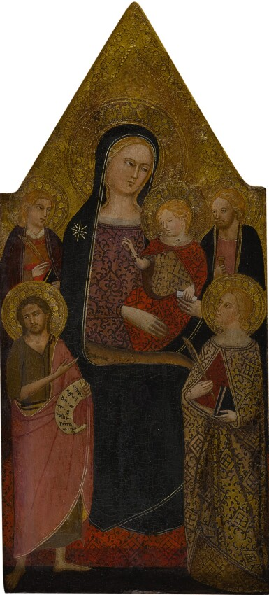 View 1. Thumbnail of Lot 567. The Madonna and Child surrounded by Saint John the Evangelist, Saint James the Greater, Saint Catherine of Alexandria and Saint John the Baptist.