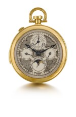 A SUPERB AND VERY RARE GOLD OPEN-FACED SKELETONIZED MINUTE REPEATING PERPETUAL CALENDAR SPLIT SECONDS CHRONOGRAPH WATCH WITH REGISTER, MOON PHASES AND DISPLAY BACK CIRCA 1931 [卡地亞/歐洲鐘錶公司極罕有黃金鏤空三問萬年曆追針計時懷錶備月相顯示及背透蓋,年份約1931]