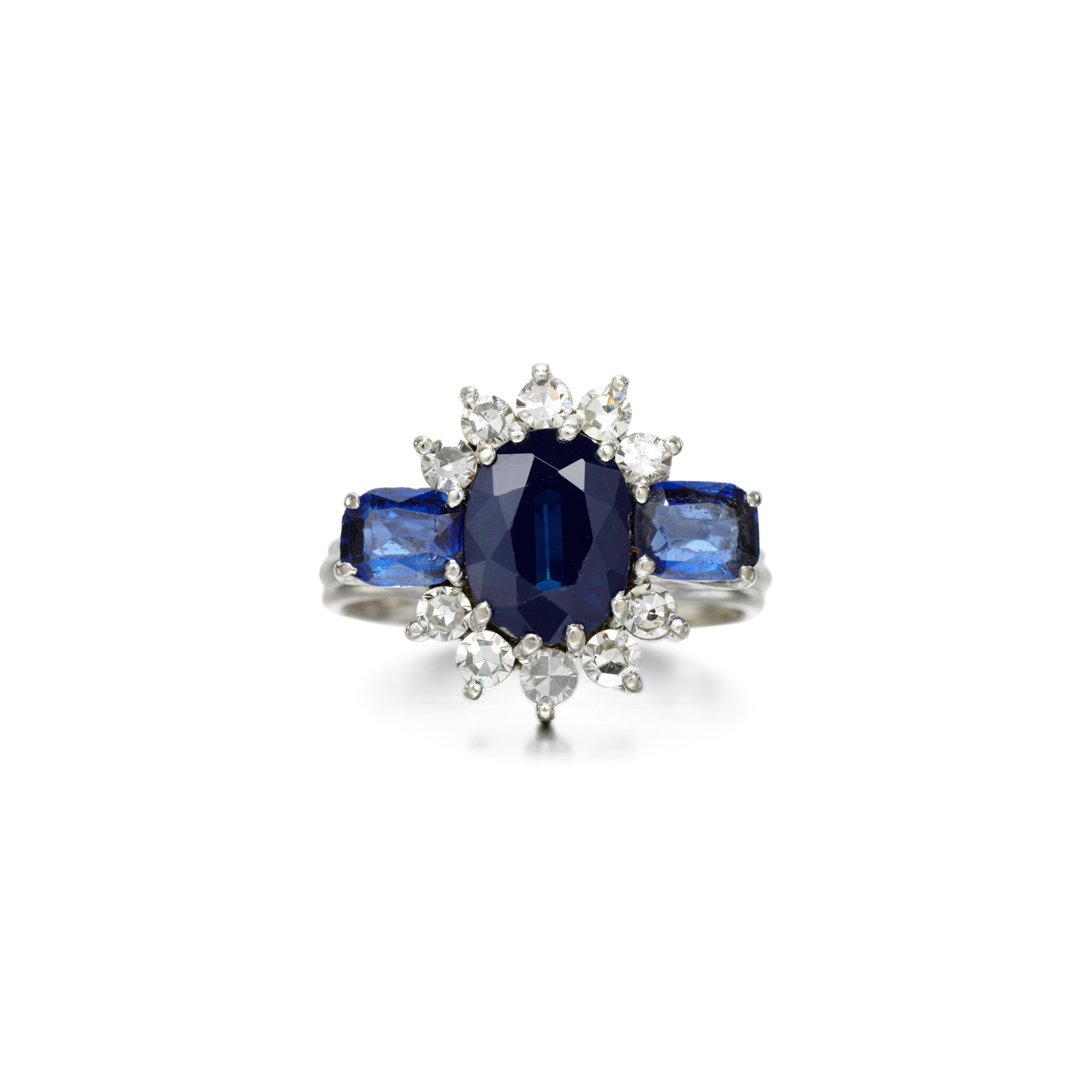 View full screen - View 1 of Lot 74. Graff   Sapphire and diamond ring.
