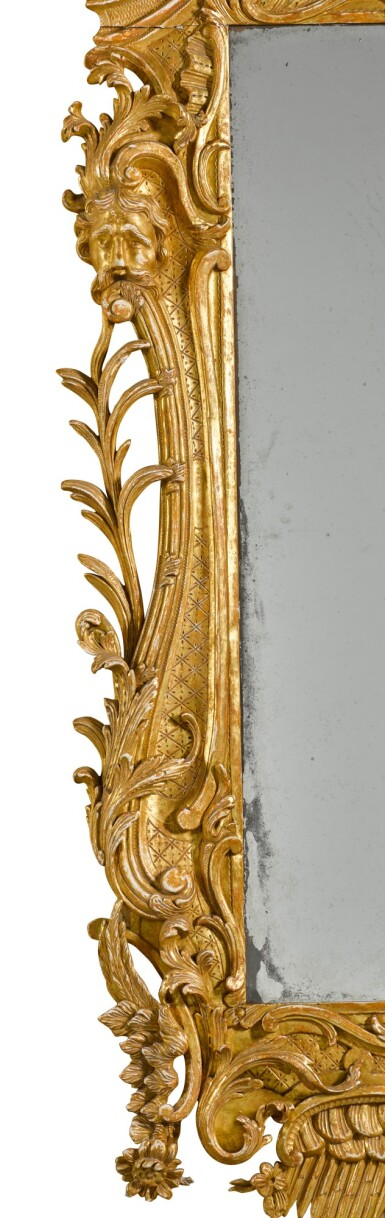 View 5. Thumbnail of Lot 67. A George II carved giltwood wall mirror, probably Irish, mid-18th century.