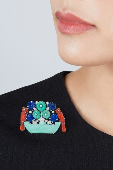 View 3. Thumbnail of Lot 209. Cartier | Turquoise, Lapis Lazuli, Carnelian and Diamond Brooch.