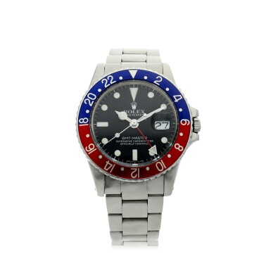 View 1. Thumbnail of Lot 101. ROLEX   REFERENCE 1675 GMT-MASTER 'PEPSI' A STAINLESS STEEL AUTOMATIC DUAL TIME WRISTWATCH WITH DATE AND BRACELET, CIRCA 1970.