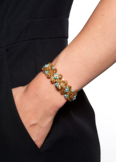 View 6. Thumbnail of Lot 115. TURQUOISE AND DIAMOND BRACELET, CARTIER, 1960S.