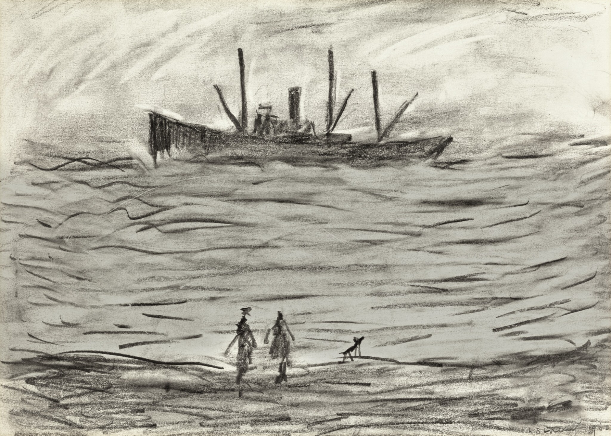 View full screen - View 1 of Lot 168. LAURENCE STEPHEN LOWRY, R.A.   TRAWLER IN A ROUGH SEA.