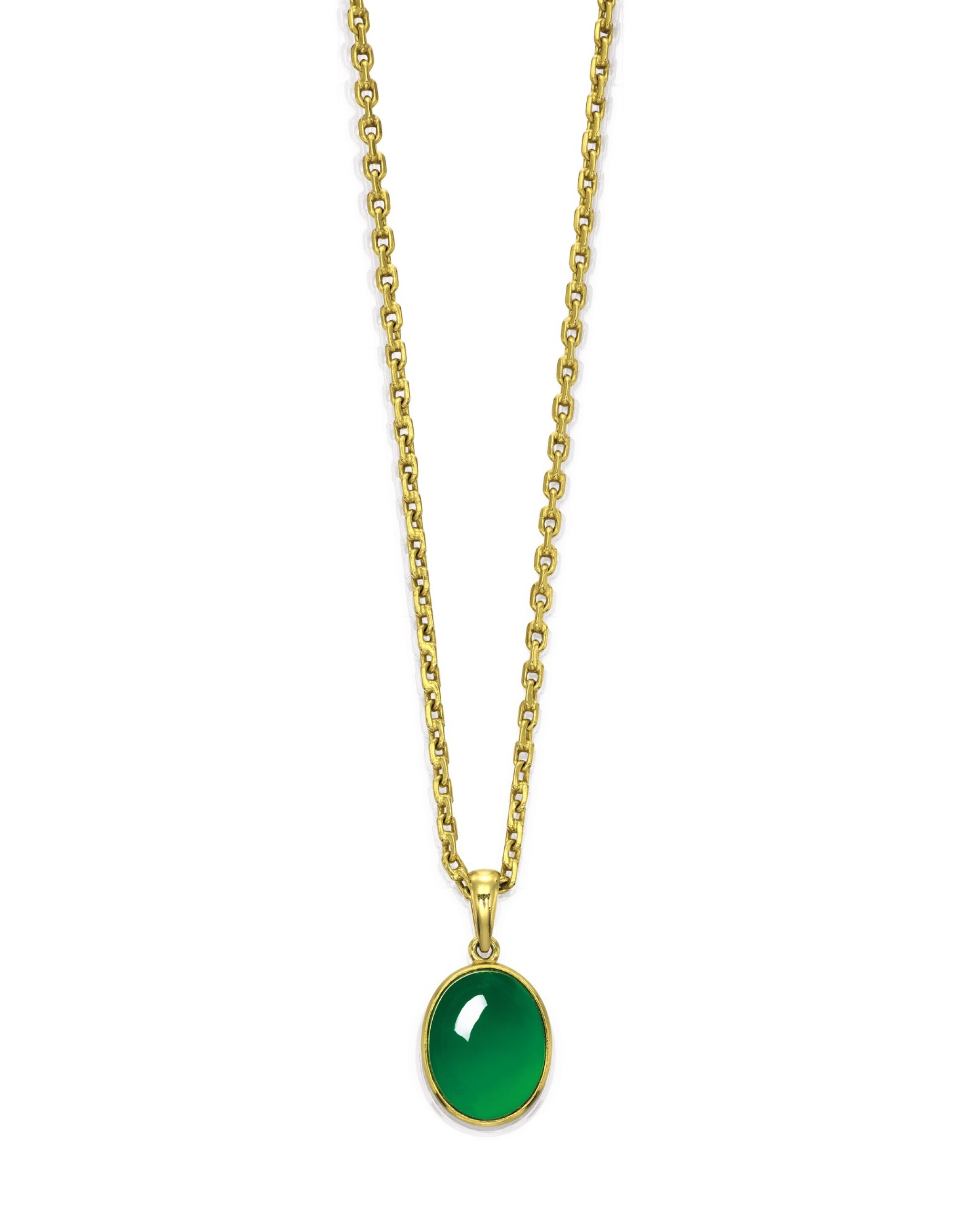 View full screen - View 1 of Lot 1722. A Very Fine Jadeite Pendent Necklace | 天然翡翠項鏈.