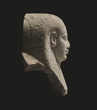 View 3. Thumbnail of Lot 59. AN EGYPTIAN LIMESTONE SARCOPHAGUS MASK, 30TH DYNASTY/EARLY PTOLEMAIC PERIOD, CIRCA 250-200 B.C..