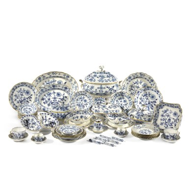 """View 1. Thumbnail of Lot 40. A Meissen """"Onion"""" pattern blue and white part dinner service, circa 1900."""