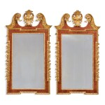 A PAIR OF GEORGE II WALNUT, GILT-GESSO, AND GILTWOOD PIER MIRRORS, SECOND QUARTER 18TH CENTURY