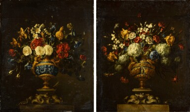 View 1. Thumbnail of Lot 42. A pair of floral still lifes, in lapis and bronze vases on stone plinths | 《靜物畫一對:石基座上的青銅鑲青金石瓶花》.