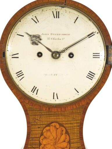 View 3. Thumbnail of Lot 37. A GEORGE III TULIPWOOD AND HAREWOOD BALLOON TABLE CLOCK, JOHN DWERRYHOUSE, LONDON, CIRCA 1790.