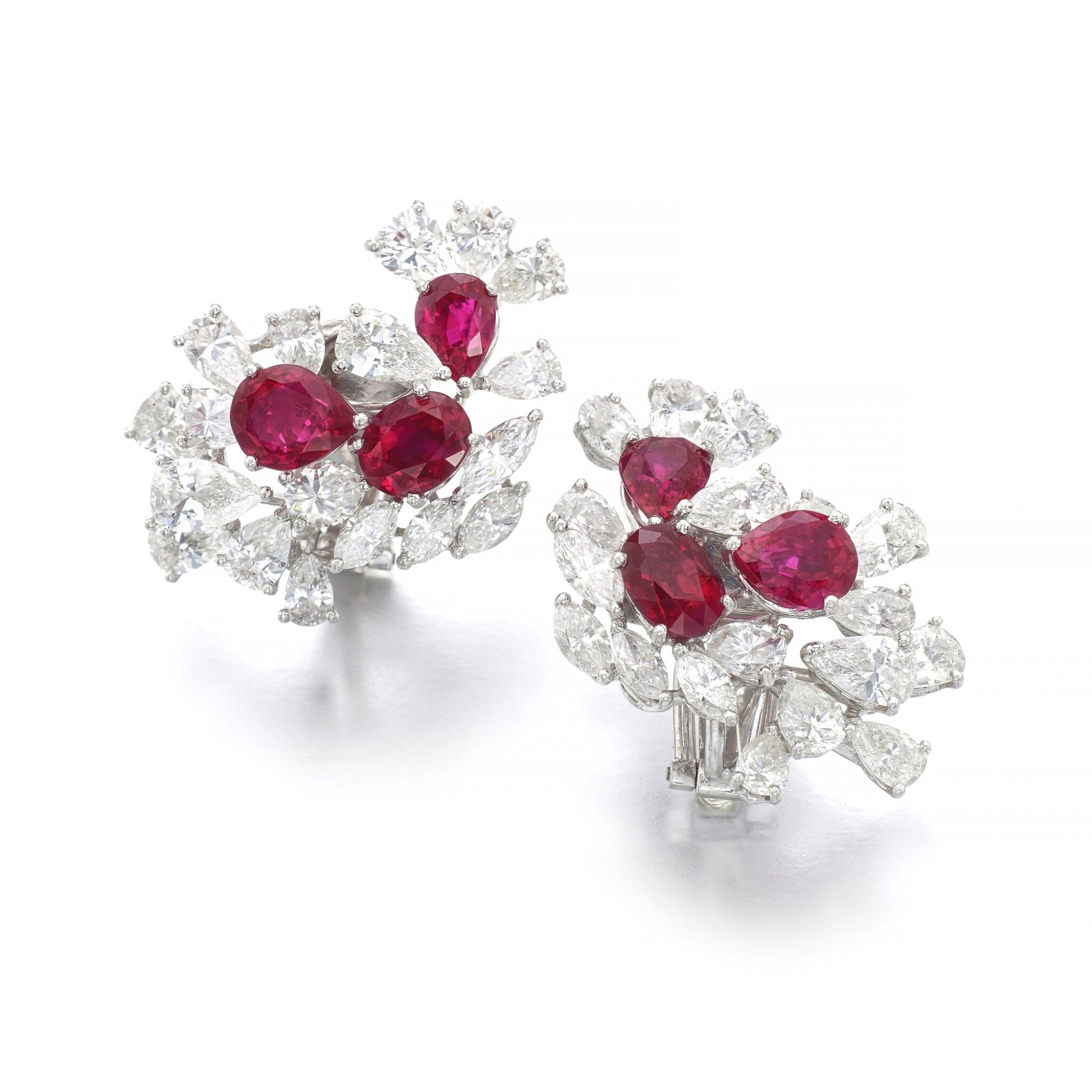 Ruby and diamond ear clips