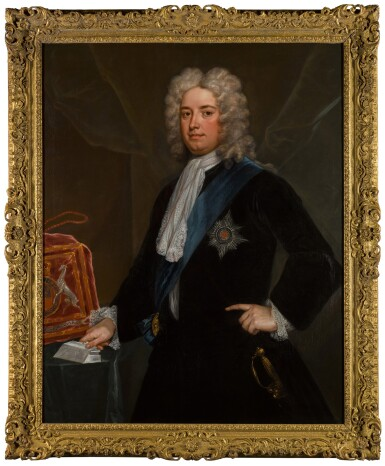 View 2. Thumbnail of Lot 190. Portrait of Sir Robert Walpole, 1st Earl of Orford (1676-1745) as Chancellor of the Exchequer, standing three-quarter-length, in a black velvet coat, wearing the Star and Riband of the Order of the Garter.
