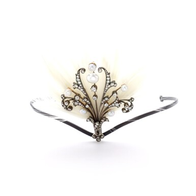 PEARL, DIAMOND AND FEATHER AIGRETTE, EARLY 20TH CENTURY