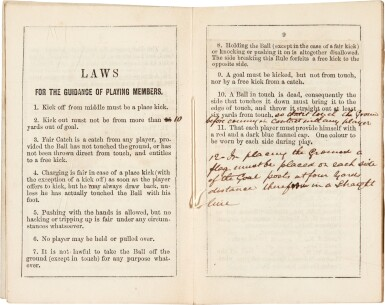 View 2. Thumbnail of Lot 141. Sheffield Football Club | Rules, Regulations, & Laws, 1859, EARLIEST RULES OF THE FIRST FOOTBALL CLUB.