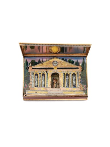 A RARE GOLD, ENAMEL AND PEARL SNUFF BOX WITH 'TEMPLE' AUTOMATON, MUSIC, WATCH AND VINAIGRETTE, SENÉ & NEISSER, GENEVA, 1807/1808