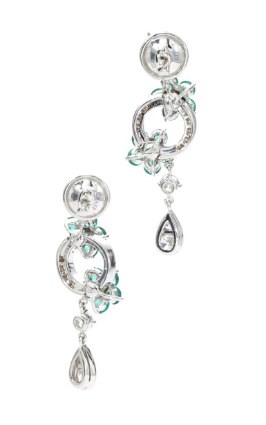View 3. Thumbnail of Lot 142. GRAFF   PAIR OF EMERALD AND DIAMOND EARRINGS.