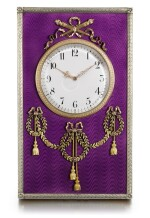 A Fabergé varicolour gold-mounted, silver-gilt and guilloché enamel desk clock, workmaster Henrik Wigström, St Petersburg, 1904